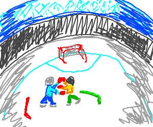hockey players punching eachother.
