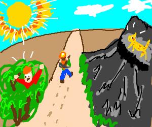 Miner deserts man in bush & animal on cliff