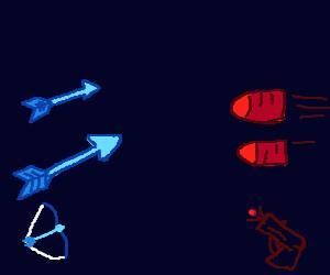 arrows vs. bullets