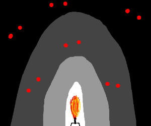 red eyed monsters guarding THE TORCH in a cave