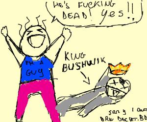 guy rejoices at king bushwick s death drawing by sakura sensei