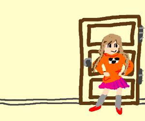madotsuki in front of door