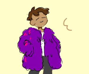 Man is a fabulous fluffy purple coat