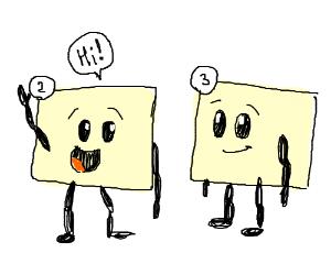 panel 2 says hi to panel 3