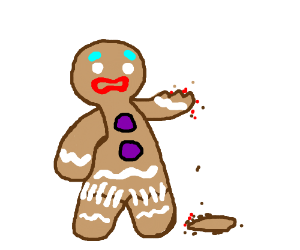 Oh no, the gingerbread man is hurt.