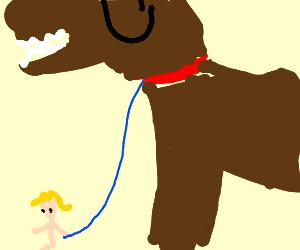Blond walking a pony or big dog your choice