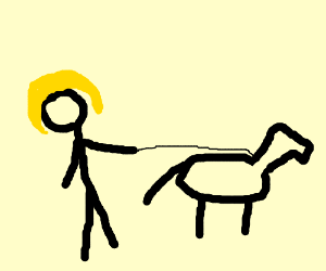 lady walkin' her dog