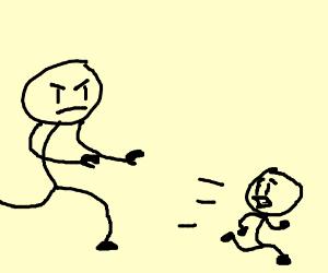 Man chasing child