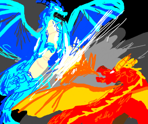 A Fire And Ice Dragon Fighting