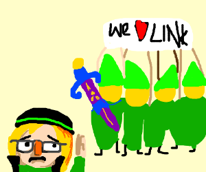 Link disguises himself to hide from the fans