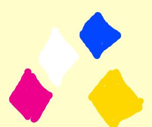 SU pink, white, blue, and yellow diamond