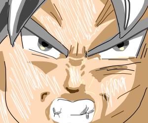 Goku is not happy. Not happy one bit.