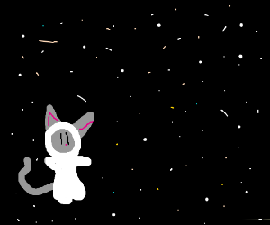 a cat in a space suit in space exploring space