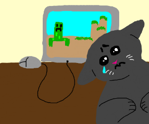 Sad cat can only play Minecraft