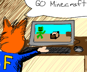 Furry with F on shirt playing Minecraft