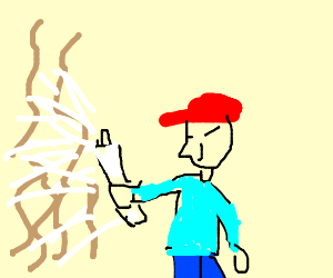 Boy with a red hat sprays bacteria to his left