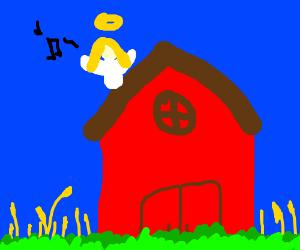 Angel sings on top of a roof