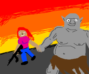 Redhead lady with rifle travels with fat orc.