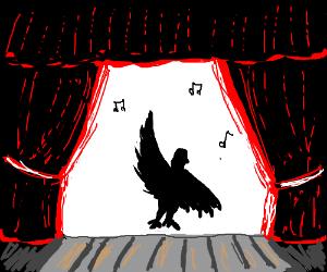 A black bird on stage