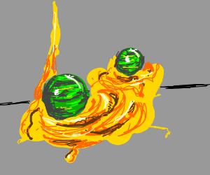 Twin Emerald Orbs in a Field of Honey
