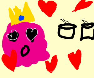Pink blob falls in love with drums