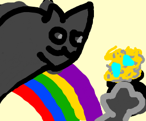 Cat walks over a rainbow to find a lot of gold