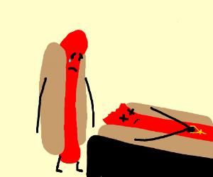 Sad hot dog sees mr. Hotdog's coffin