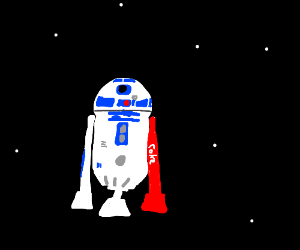R2D2 with a red leg
