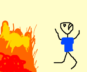guy in blue shirt running away from fire