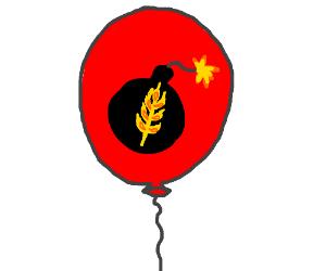 red balloon, lit bomb, wheat