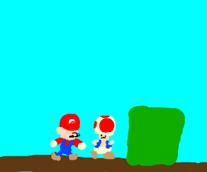 Mario wants a hug with deformed Toad