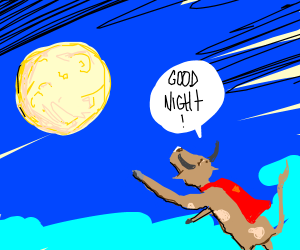 flying cow wishes mr. moon goodnight