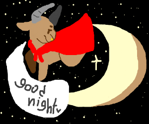 bull with red cape says good night to the moon