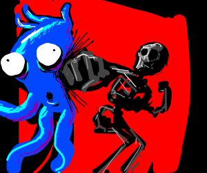 Skeleton Punches Blue Tentacle Alien Thing