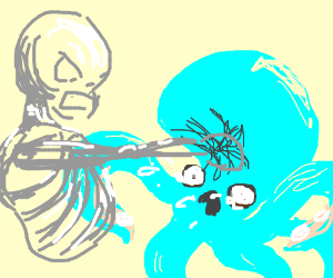 skeleton punches blue octopus