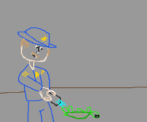 Police officer tasing a dead turtle