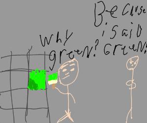 Why green? BECAUSE I SAID GREEN!