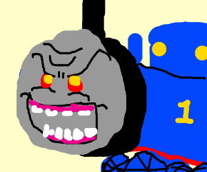 Thomas the train with a detailed evil face...