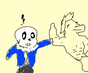 Sans feels Aaron's muscles (Undertale)
