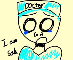 Sad cyan doctor