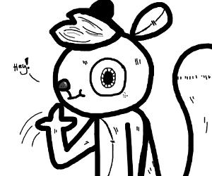 a squirrel waving