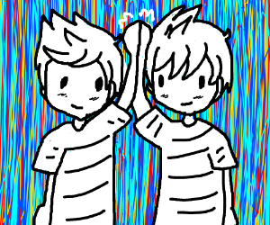 Two twin brothers high fiving each other