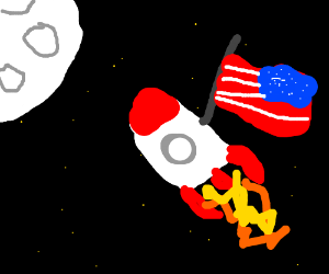 Rocket with american flag flies to the moon.