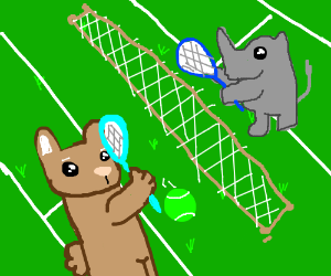 A Bunny and a Rhino playing Tennis