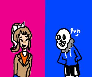 Monika and Sans Trade Puns