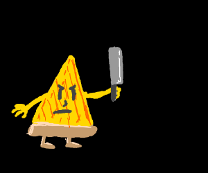 angry pizza wielding a knife