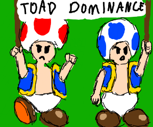 Red and Blue Toad join a protest for dominance