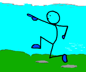 A Guy running while pointing to the sky