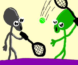 two aliens playing tennis in a purple planet