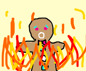 Gingerbread Man in Flames